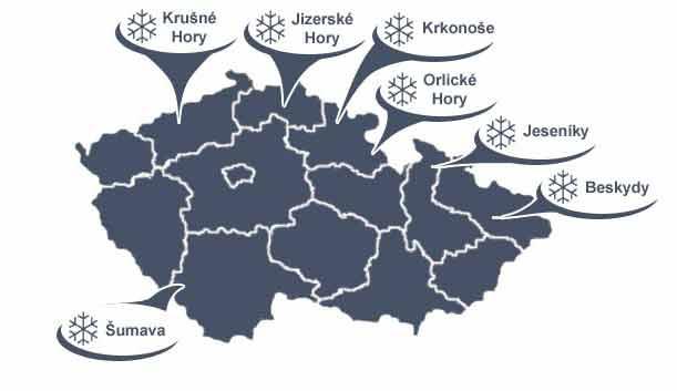 Lyžařská střediska - mapa ČR